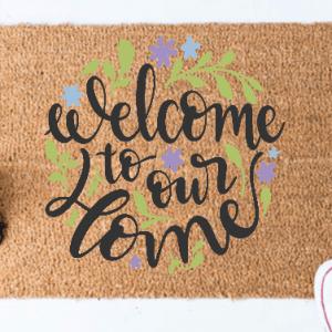 WELCOME TO OUR HOME – KÓKUSZ LÁBTÖRLŐ – TÖBB MÉRETBEN