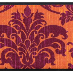 Vintage premium doormat – orange-lilac floral pattern