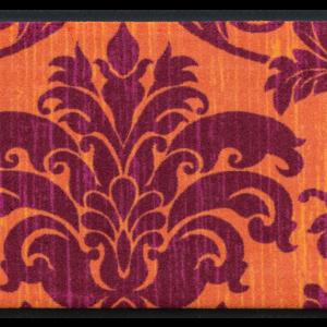 Vintage prémium lábtörlő – narancs-lila virágmintás