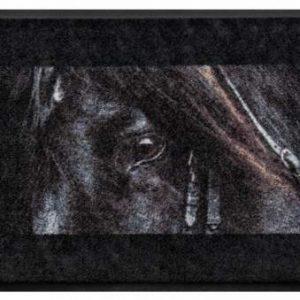 Állatos prémium lábtörlő – fekete ló