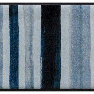 Csíkos prémium lábtörlő – kék festékcsíkok