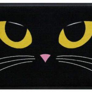 Ünnepi prémium lábtörlő – fekete macska