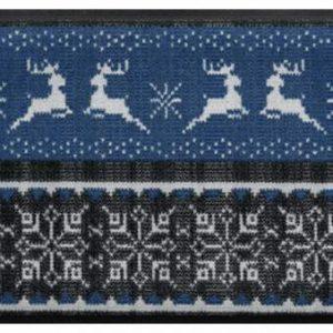 Ünnepi prémium lábtörlő – kék rénszarvasos pulóver