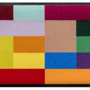 Geometriai mintás prémium lábtörlő – színes négyzetek