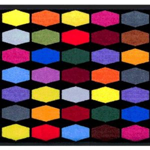 Geometriai mintás prémium lábtörlő – színes kockák