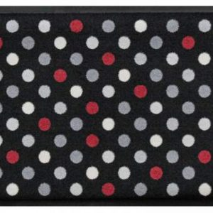 Geometriai mintás prémium lábtörlő – pöttyös szürke