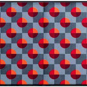 Geometriai mintás prémium lábtörlő – piros-szürke