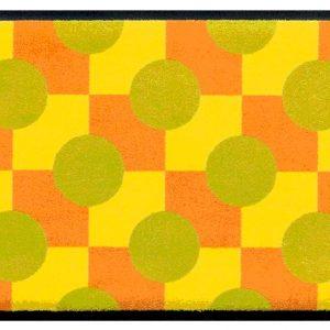 Geometriai mintás prémium lábtörlő – sárga-zöld
