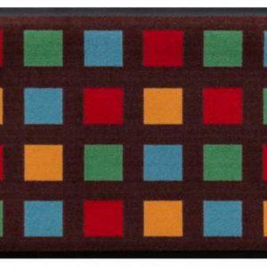 Geometriai mintás prémium lábtörlő – terra