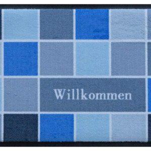Geometriai mintás prémium lábtörlő – Willkommen