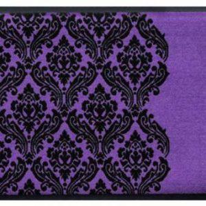 Díszes prémium lábtörlő – lila-fekete barokk