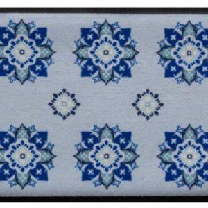 Díszes prémium lábtörlő – kék virágmintás