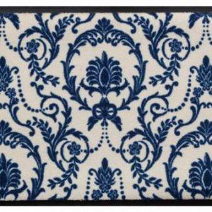 Díszes prémium lábtörlő – kék barokk