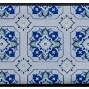 Díszes prémium lábtörlő – kék virágos csempeminta