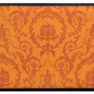 Díszes prémium lábtörlő – narancs barokk