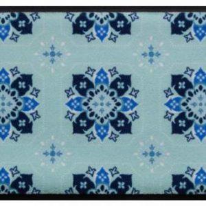 Díszes prémium lábtörlő – kék árnyalatok