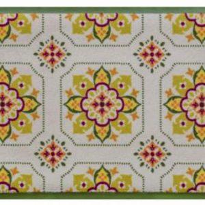 Díszes prémium lábtörlő – zöld virágos csempeminta