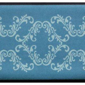 Díszes prémium lábtörlő – kék-világoskék