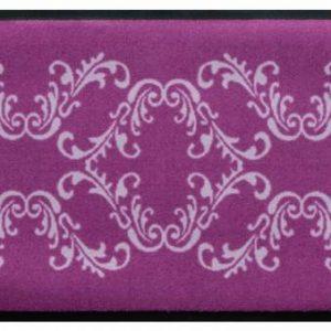 Díszes prémium lábtörlő – lila-fehér