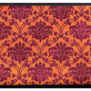 Díszes prémium lábtörlő – narancs-lila virágos