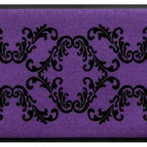 Díszes prémium lábtörlő – lila-fekete