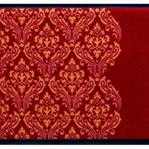 Díszes prémium lábtörlő – piros barokk