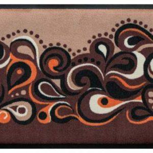 Retro stílusú prémium lábtörlő – barna-narancs hullámok