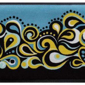 Retro stílusú prémium lábtörlő – fekete-sárga hullámok