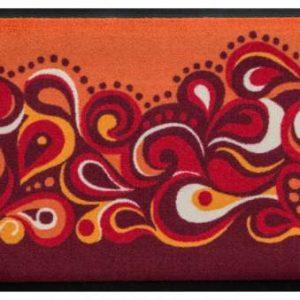 Retro stílusú prémium lábtörlő – piros-sárga hullámok