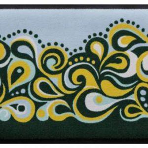 Retro stílusú prémium lábtörlő – zöld-sárga hullámok
