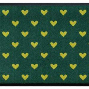 Szívmintás prémium lábtörlő – sárga szívek