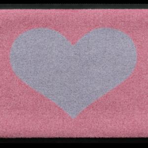 Szívmintás prémium lábtörlő – rózsaszín-szürke