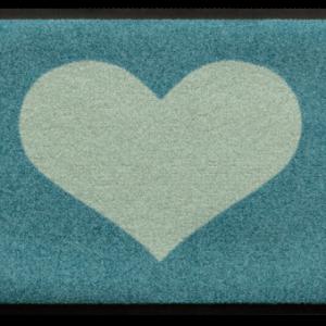 Szívmintás prémium lábtörlő – türkiz-világoskék