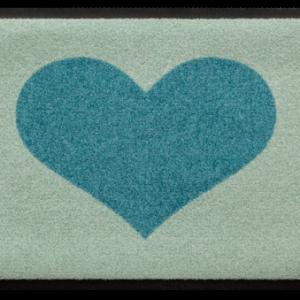 Szívmintás prémium lábtörlő – világoskék-türkiz