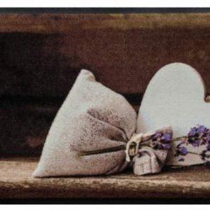 Szívmintás prémium lábtörlő – szív levendulával