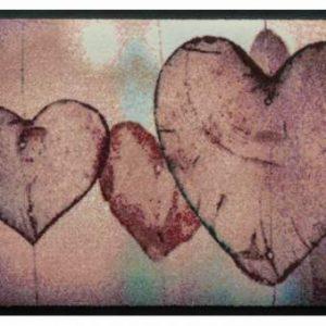 Szívmintás prémium lábtörlő – függő díszek