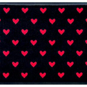 Szívmintás prémium lábtörlő – piros szívek