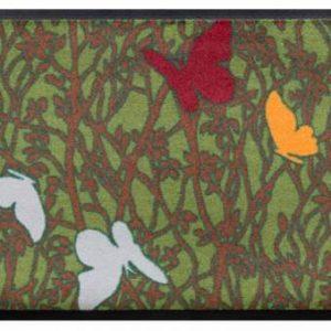 Virágok és levelek prémium lábtörlő – pillangók