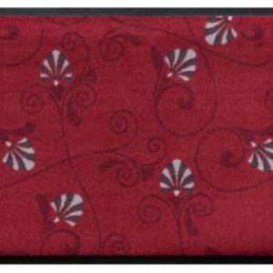 Virágok és levelek prémium lábtörlő – piros