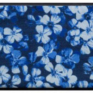 Virágok és levelek prémium lábtörlő – kék virágok