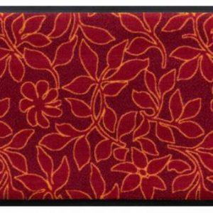 Virágok és levelek prémium lábtörlő – piros levelek