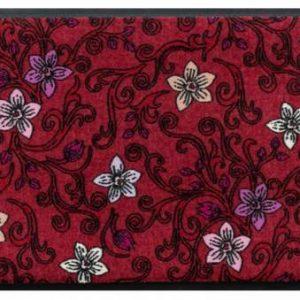 Virágok és levelek prémium lábtörlő – piros nárcisz