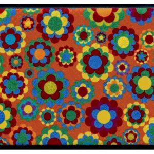 Virágok és levelek prémium lábtörlő – színes virágok