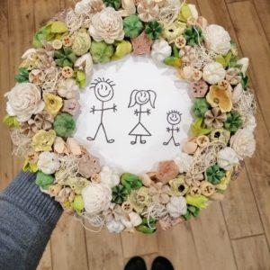 Ajtódísz családi mintával és névvel – zöld