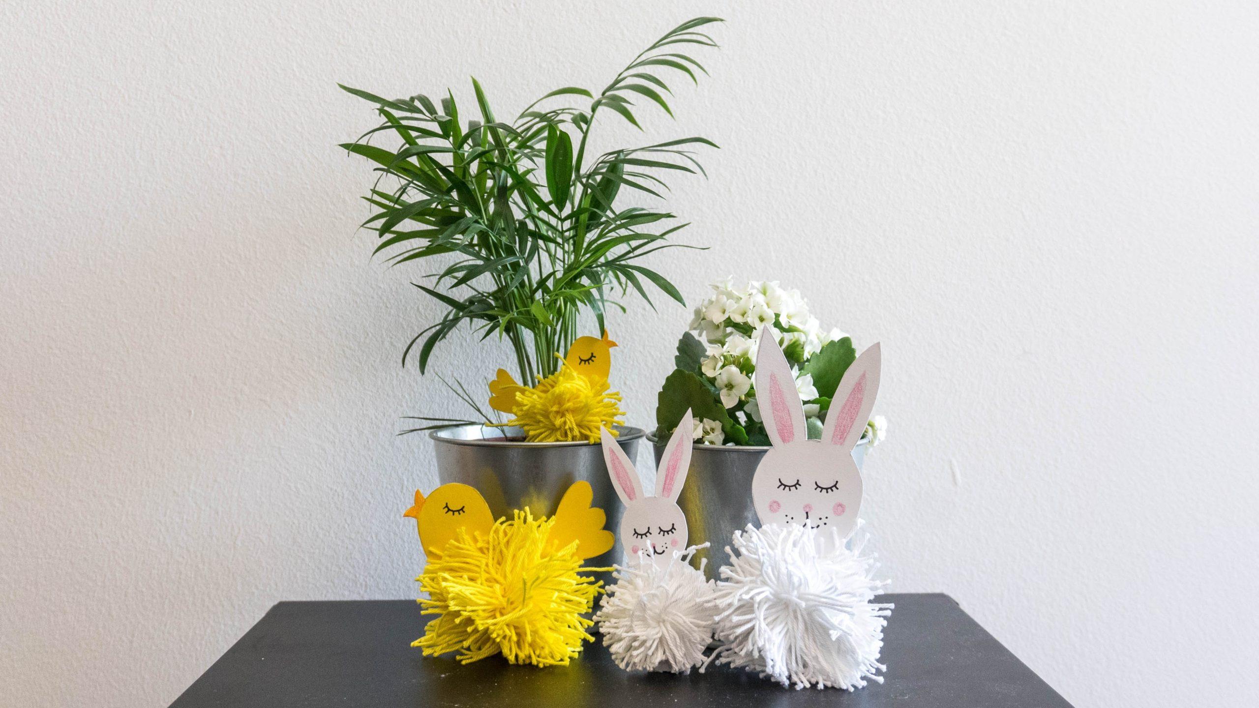 Apró húsvéti dekorációs fonal gombóc állatkák